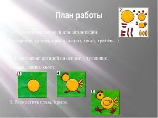 План работы 1.Изготовление деталей для аппликации (туловище, голова, крыло, л