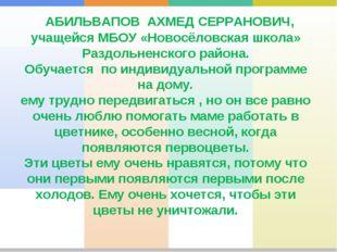 АБИЛЬВАПОВ АХМЕД СЕРРАНОВИЧ, учащейся МБОУ «Новосёловская школа» Раздольненс