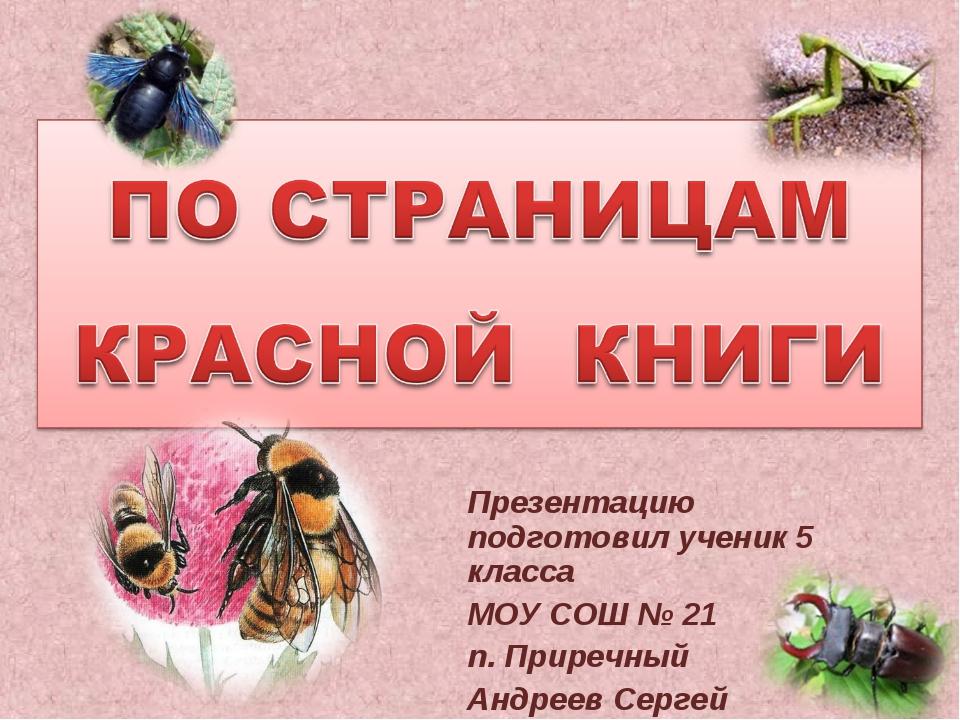 Презентацию подготовил ученик 5 класса МОУ СОШ № 21 п. Приречный Андреев Сергей