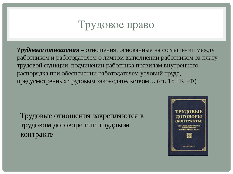 Трудовое право Трудовые отношения–отношения, основанные на соглашении между...