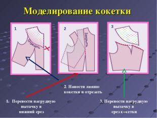 Моделирование кокетки Перевести нагрудную вытачку в нижний срез 2. Нанести ли