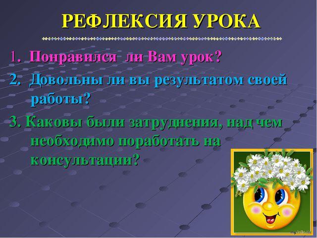РЕФЛЕКСИЯ УРОКА 1. Понравился ли Вам урок? 2. Довольны ли вы результатом свое...
