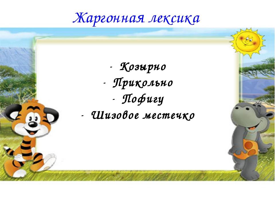Жаргонная лексика Козырно Прикольно Пофигу Шизовое местечко