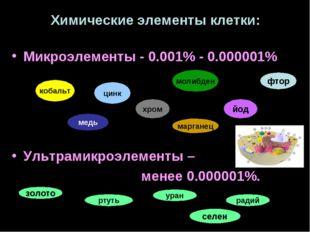 Химические элементы клетки: Микроэлементы - 0.001% - 0.000001% Ультрамикроэле