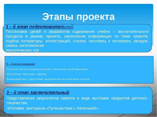 Этапы проекта 1 – й этап подготовительный Постановка целей и разработка содер...