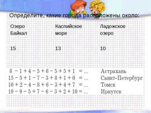 Определите, какие города расположены около: Озеро БайкалКаспийское море Лад