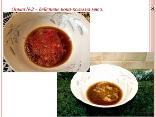 8.11.15 Опыт №2 – действие кока-колы на мясо: