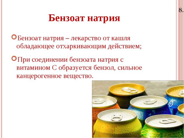 8.11.15 Бензоат натрия Бензоат натрия – лекарство от кашля обладающее отхарки...