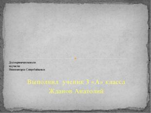 Выполнил ученик 3 «А» класса Жданов Анатолий Достопримечательности на участке