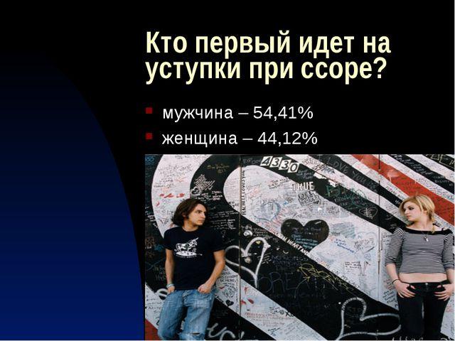 Кто первый идет на уступки при ссоре? мужчина – 54,41% женщина – 44,12%