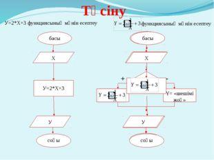 Түсіну басы Х У соңы У=2*Х+3  У=2*Х+3 функциясының мәнін есептеу функциясыны