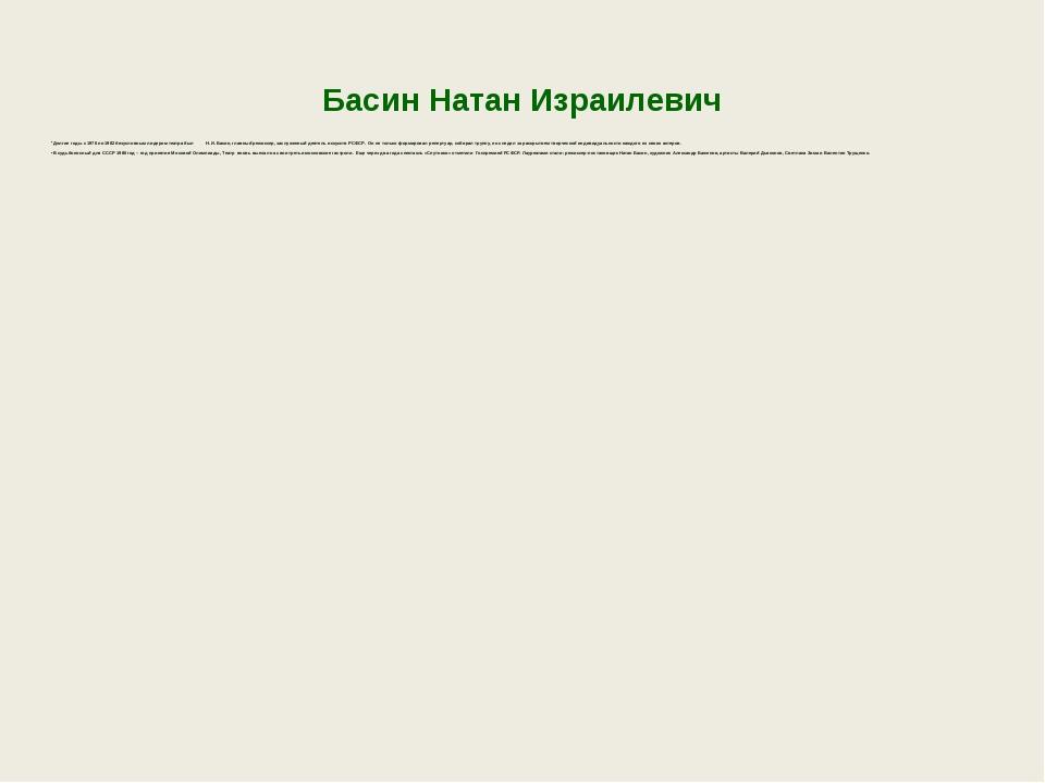 Басин Натан Израилевич Долгие годы с 1976 по 1982 безусловным лидером театра...