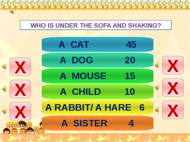 WHO IS UNDER THE SOFA AND SHAKING? Х Х Х Х Х Х A CAT 45 A DOG 20 A MOUSE 15...