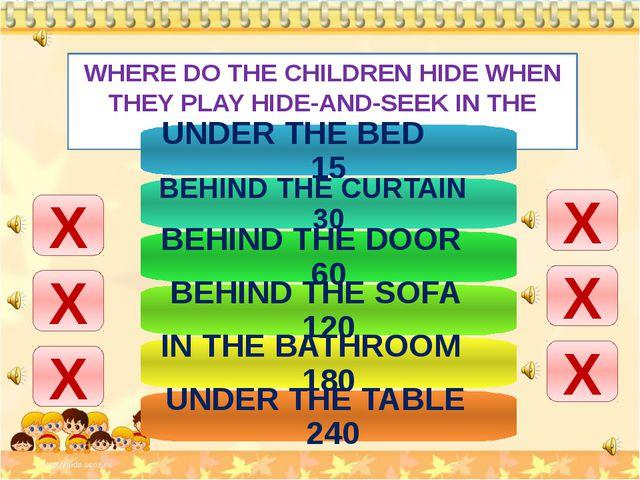WHERE DO THE CHILDREN HIDE WHEN THEY PLAY HIDE-AND-SEEK IN THE FLAT? Х Х Х Х...