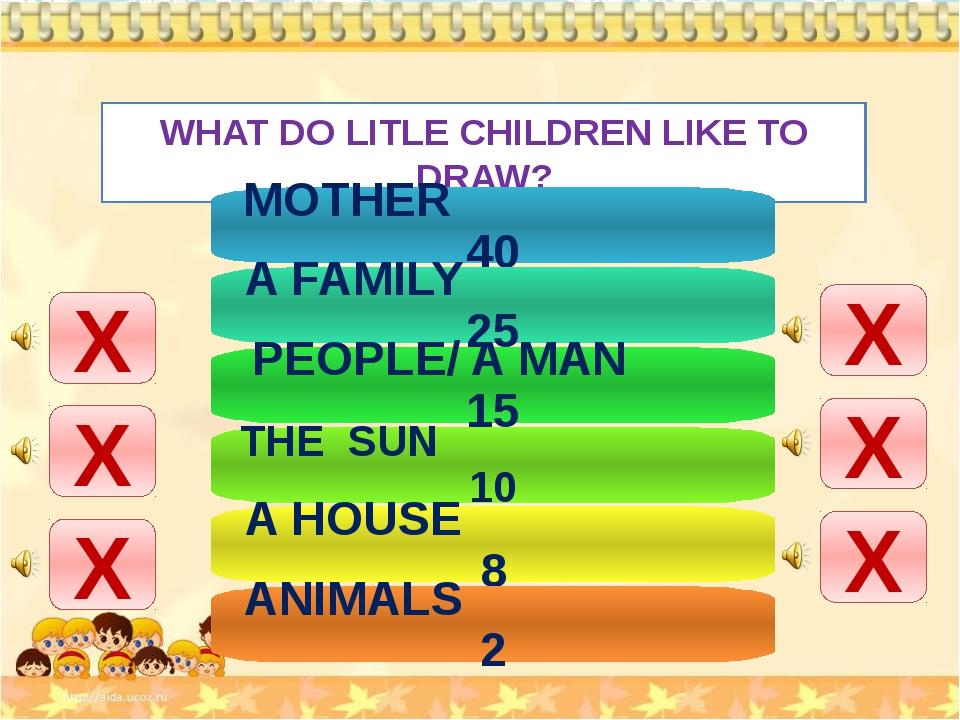 WHAT DO LITLE CHILDREN LIKE TO DRAW? Х Х Х Х Х Х MOTHER 40 A FAMILY 25 PEOPLE...