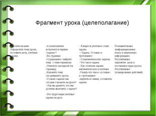 Фрагмент урока (целеполагание) 2.Целеполагание Определить тему урока, постави