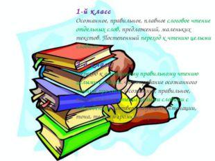 1-й класс Осознанное, правильное, плавное слоговое чтение отдельных слов, пре