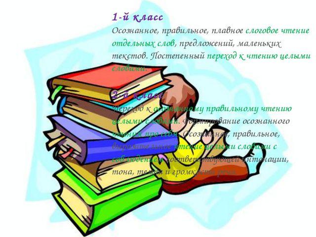 1-й класс Осознанное, правильное, плавное слоговое чтение отдельных слов, пре...