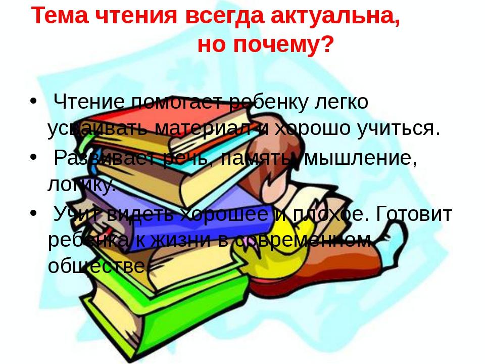 Тема чтения всегда актуальна, но почему? Чтение помогает ребенку легко усваив...