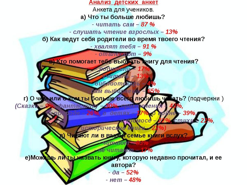 Анализ детских анкет Анкета для учеников. а) Что ты больше любишь? - читать с...