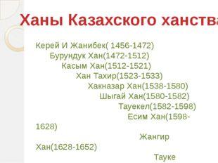 Ханы Казахского ханства Керей И Жанибек( 1456-1472) Бурундук Хан(1472-1512) К