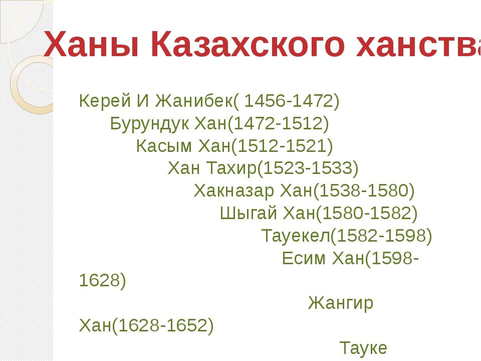Ханы Казахского ханства Керей И Жанибек( 1456-1472) Бурундук Хан(1472-1512) К...