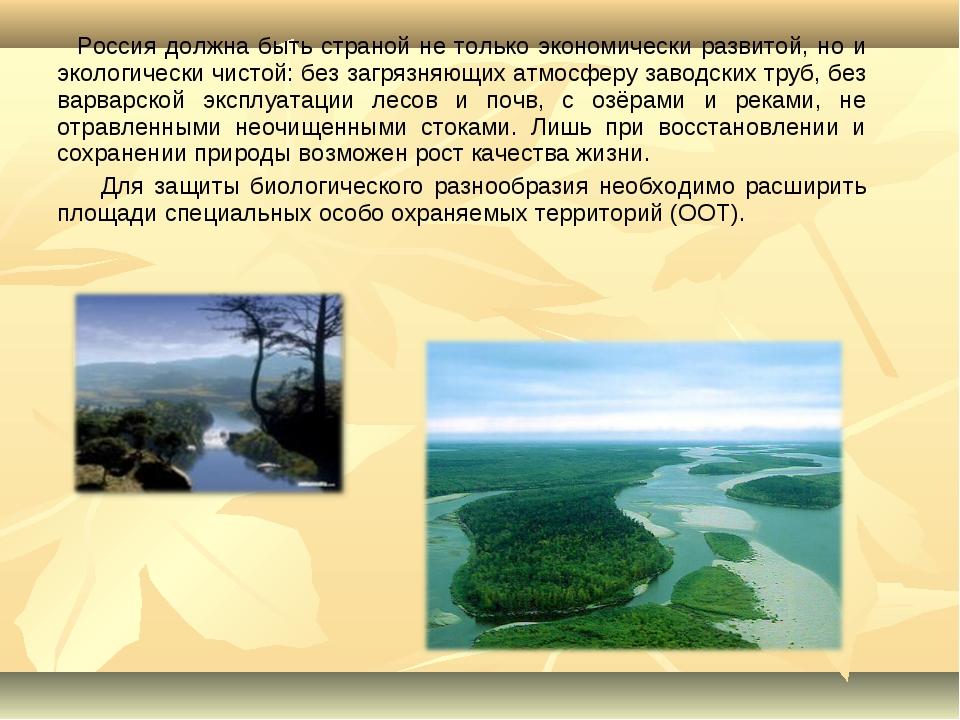 Россия должна быть страной не только экономически развитой, но и экологическ...