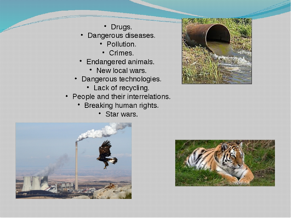 Drugs. Dangerous diseases. Pollution. Crimes. Endangered animals. New local w...