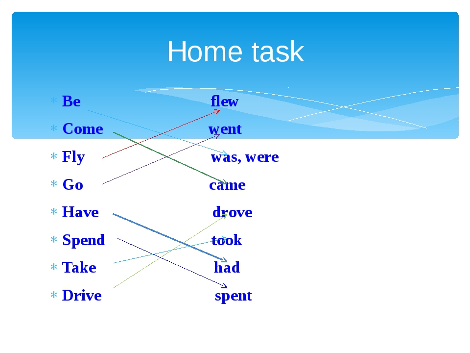 Home task Be flew Come went Fly was, were Go came Have drove Spend took Take...