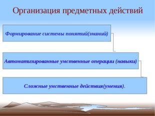 Организация предметных действий Формирование системы понятий(знаний) Автомати