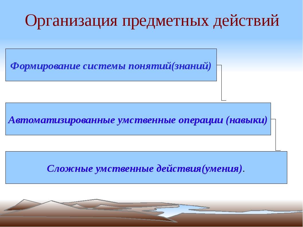 Организация предметных действий Формирование системы понятий(знаний) Автомати...
