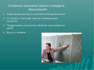 Основные принципы нового стандарта образования: Развитие должно быть в коллек