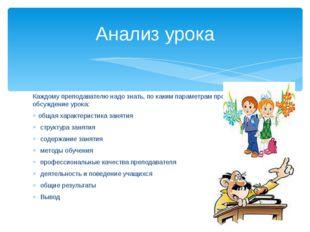 Каждому преподавателю надо знать, по каким параметрам проходит обсуждение уро