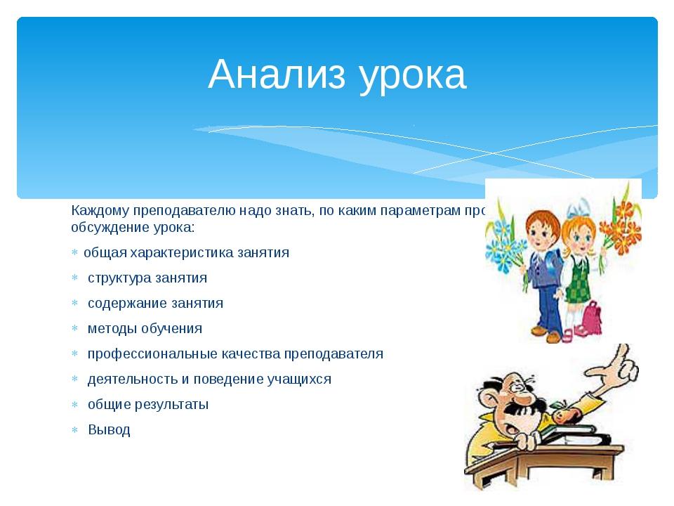 Каждому преподавателю надо знать, по каким параметрам проходит обсуждение уро...