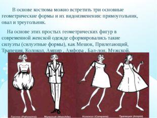 В основе костюма можно встретить три основные геометрические формы и их видо