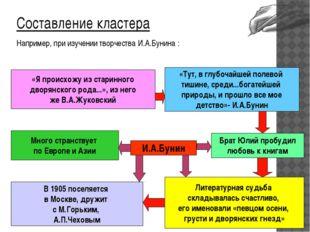 Составление кластера Составление кластера Например, при изучении творчества