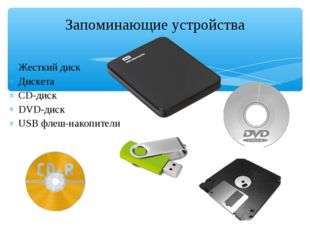 Жесткий диск Дискета CD-диск DVD-диск USB флеш-накопители Запоминающие устрой