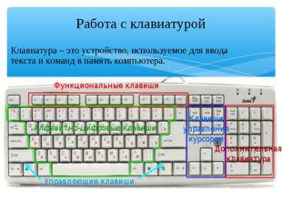 Клавиатура – это устройство, используемое для ввода текста и команд в память