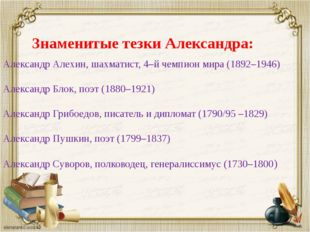 Знаменитые тезки Александра: Александр Алехин, шахматист, 4–й чемпион мира (1
