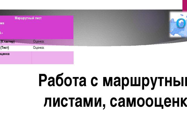 Работа с маршрутными листами, самооценка. Маршрутный лист Группа: Тема ФИО: К...