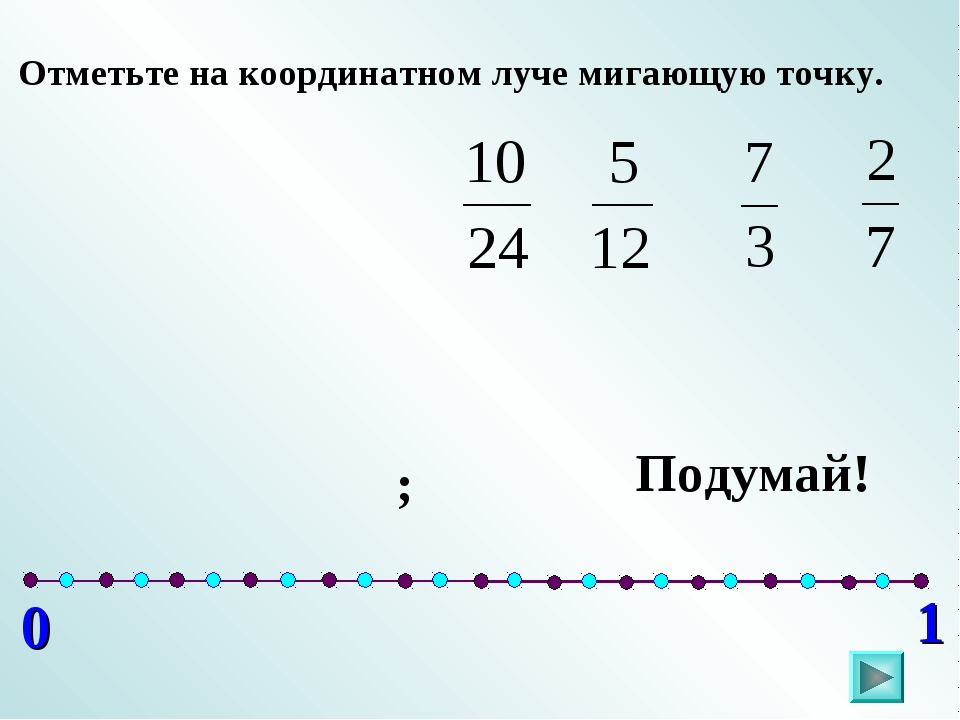 0 1 Отметьте на координатном луче мигающую точку. ; Подумай!