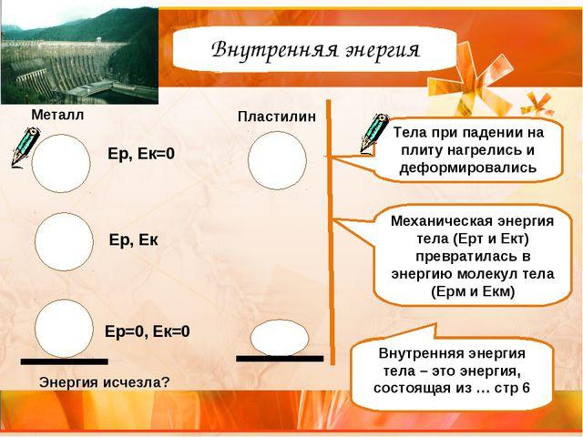 Внутренняя энергия Механическая энергия тела (Ерт и Ект) превратилась в энерг...