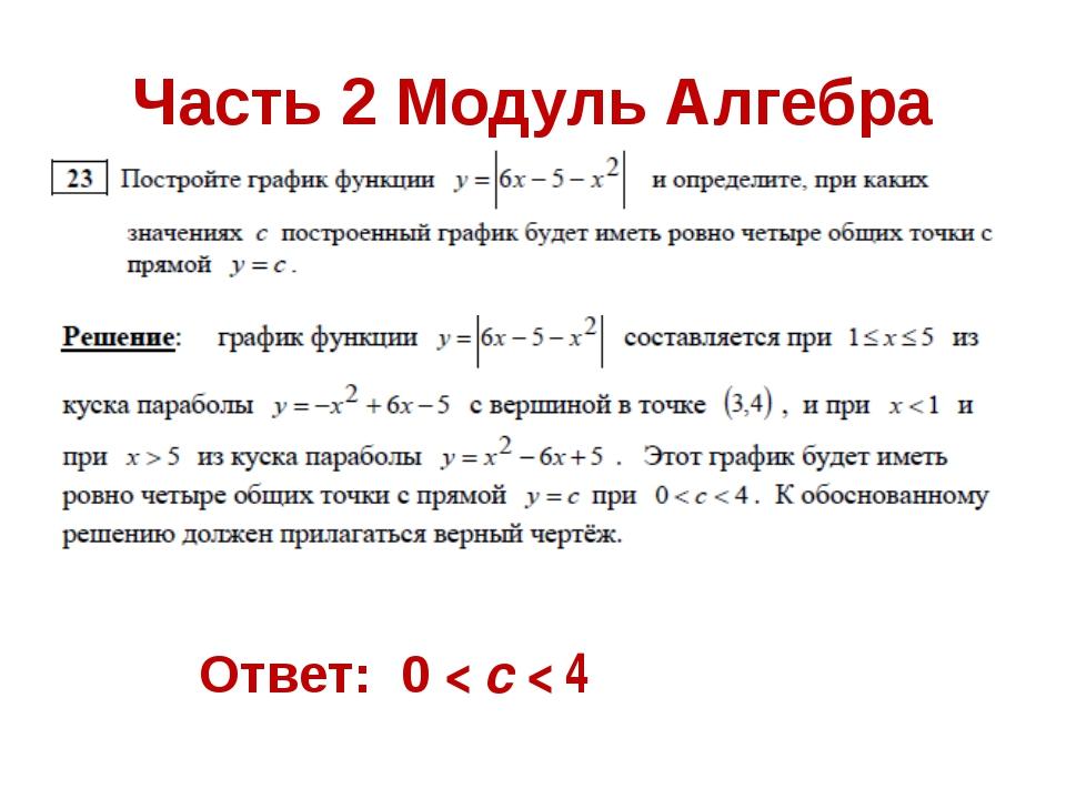 Часть 2 Модуль Алгебра Ответ: 0 < c < 4