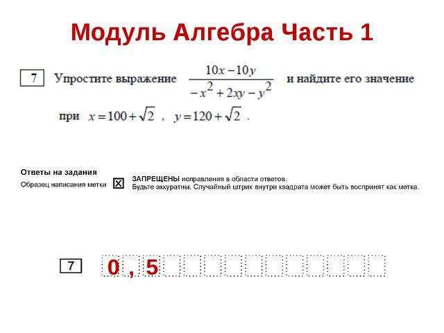 Модуль Алгебра Часть 1 0 , 5