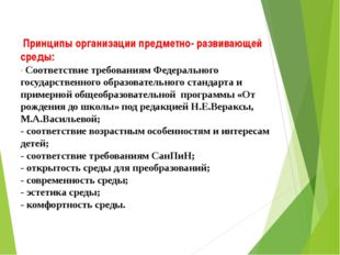 Принципы организации предметно- развивающей среды: - Соответствие требования