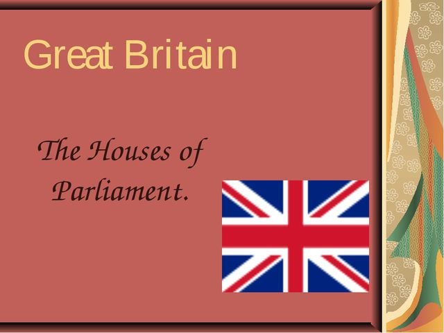 Great Britain The Houses of Parliament.