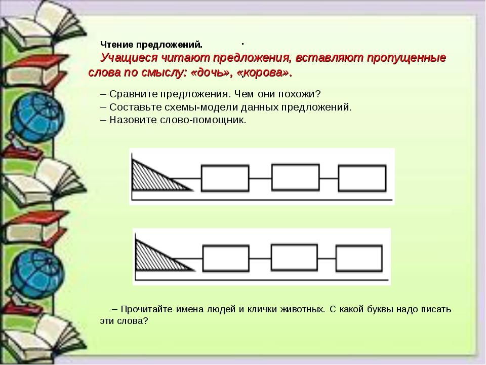 Чтение предложений. Учащиеся читают предложения, вставляют пропущенные слова...