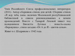 Член Российского Союза профессиональных литераторов (2011). Автор сборников с