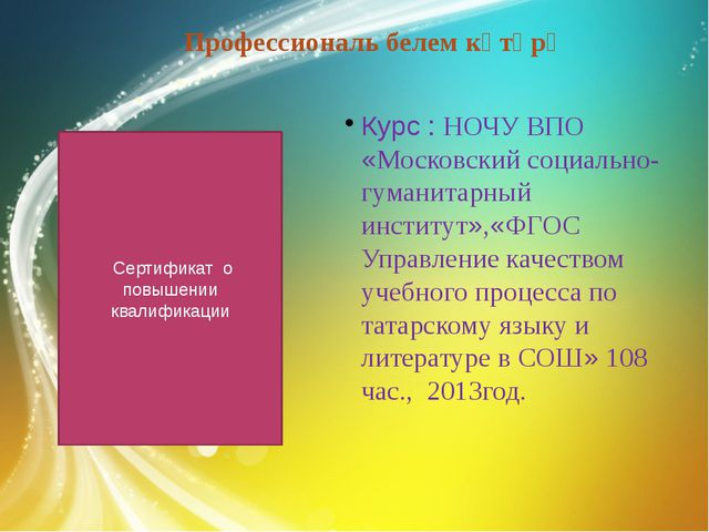 Сертификат о повышении квалификации Профессиональ белем күтәрү Курс : НОЧУ В...