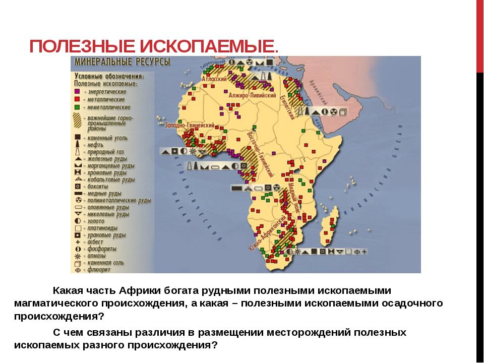 ПОЛЕЗНЫЕ ИСКОПАЕМЫЕ.  Какая часть Африки богата рудными полезными ископаем...